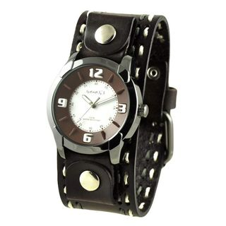 Nemesis White and Brown Embossed Men's Watch with Dark Brown Double Stitched Leather Cuff Band
