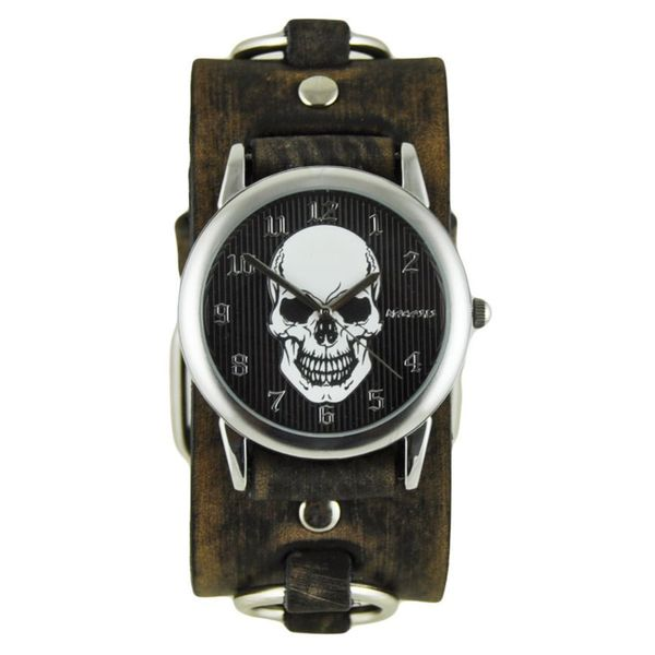 Nemesis Black and White Mystery Skull Mens Watch with Faded Dark Brown Ring Cuff Band