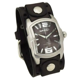 Nemesis Brown 'Curve' Mens Watch with Dark Brown Wide Weaving Leather Cuff Band