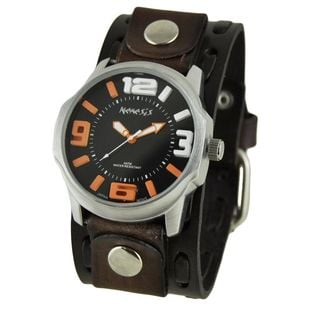 Nemesis Black and Orange Embossed 3D Men's Watch with Dark Brown Wide Weaving Leather Cuff Band