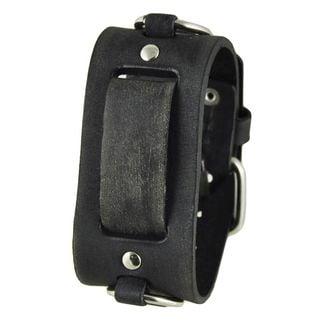 Nemesis Faded Black Leather Ring Watch Cuff Band 20-22mm