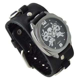 Nemesis Black and Silver Dragon King of Skulls Watch with Black Ring Leather Cuff Band