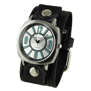 Nemesis Silver and Blue 'Comely' Unisex Watch with Vintage Black Embossed Stripes Leather Cuff Band