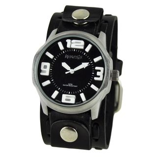 Nemesis Black and White Embossed 3D Men's Watch with Black Wide Weaving Leather Cuff Band