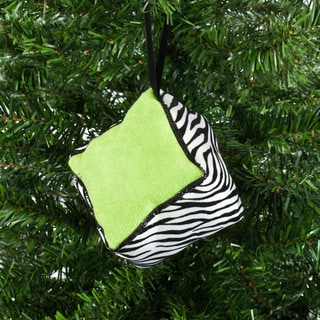 Zebra Box Ornament with 2-inch Black Satin Hanger (6 pieces)