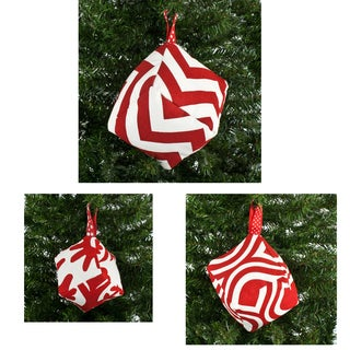 Red and White Box Ornaments with 2-inch Red Dot Hangers (Set of 3)