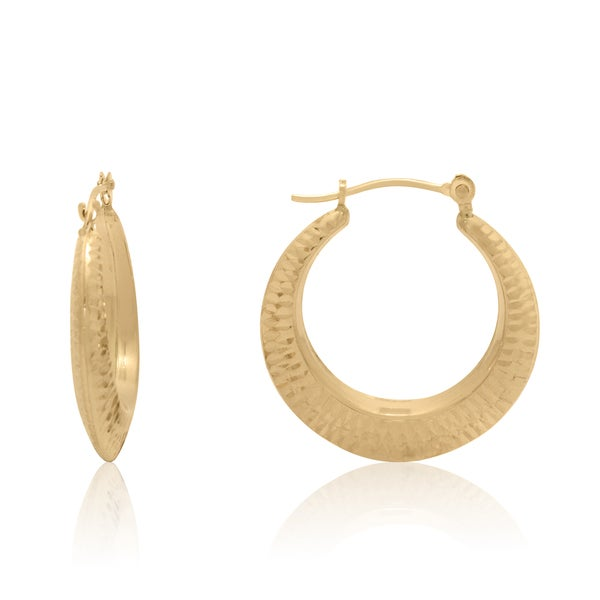 Gioelli 14k Gold 22mm Diamond-cut Hoop Earrings