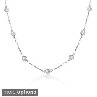 Gioelli Sterling Silver 5.5mm Round Cubic Zirconia Station Necklace
