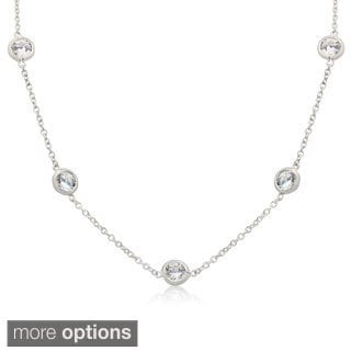 Gioelli Sterling Silver 7mm Round Cubic Zirconia Station Necklace