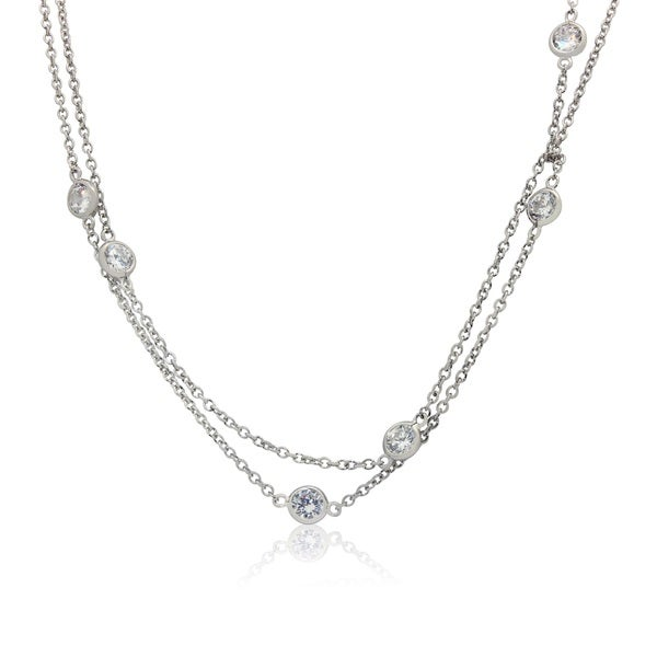 Gioelli Sterling Silver 6mm Round Cubic Zirconia Station Necklace