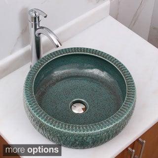 ELIMAX'S 2001+882002 Jade Rock Pattern Porcelain Ceramic Bathroom Vessel Sink With Faucet Combo