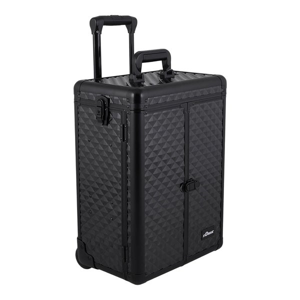 Sunrise Interchangeable Rolling Makeup Case with Split Front Panel and 2 Drawers