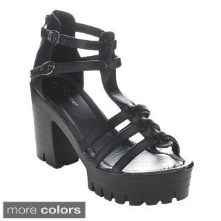 Forever Women's Amarie-11 Strappy Chunky-heel Sandals