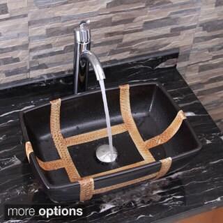 ELIMAX'S 2009+882002 Rectangle Matt Black Porcelain Ceramic Bathroom Vessel Sink With Faucet Combo