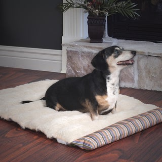 Paw Roll Up Travel Portable Plush Stripe Dog Bed