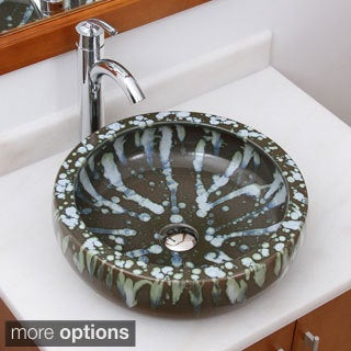 ELIMAX'S 2006+882002 American Graffiti Pattern Porcelain Ceramic Bathroom Vessel Sink With Faucet Combo