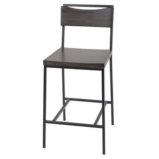 Fashion Bed Group Columbus 30-inch Black Metal Barstool with Black Cherry Wooden Seat