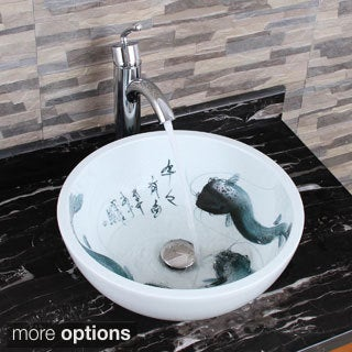 ELIMAX'S 2016+882002 Oriental Cat Fish Style Ceramic Bathroom Vessel Sink