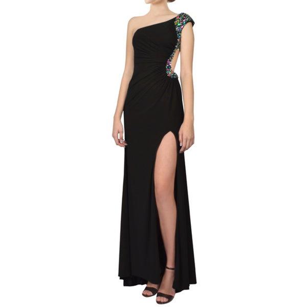 Gigi Black One Shoulder Cross Back Rhinestone Formal Evening Gown Dress