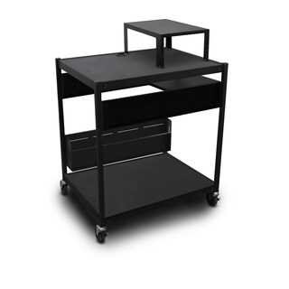 AV Cart with 1 Pull-Out Side-Shelf, Bin, Expansion Shelf, and Electrical