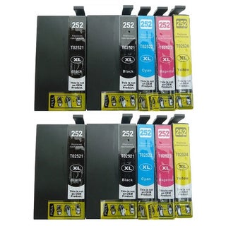 10-pack Replacing T252XL Ink Cartridge for Epson WF-3620 WF-3640 WF-7110 WF-7610 WF-7620 Printer