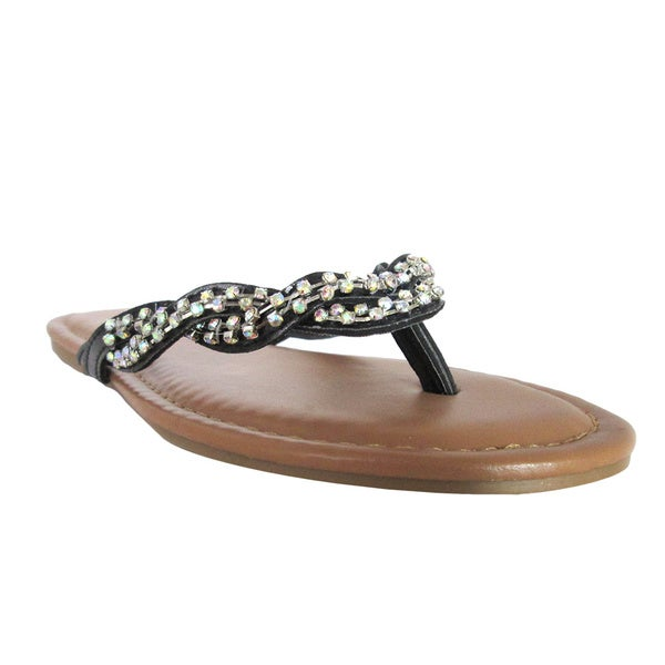 Olivia Miller Women's 'Emma' Twisted and Studded Flip-flops