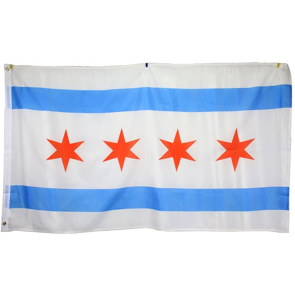 3x5 Super Polyester City of Chicago Illinois Flag indoor Outdoor