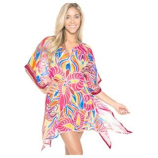 La Leela Women's Sheer Chiffon Pink Swim Cover-up Caftan