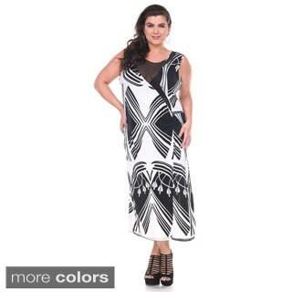Stanzino Women's Plus Size Mesh Printed Sleeveless Maxi Dress