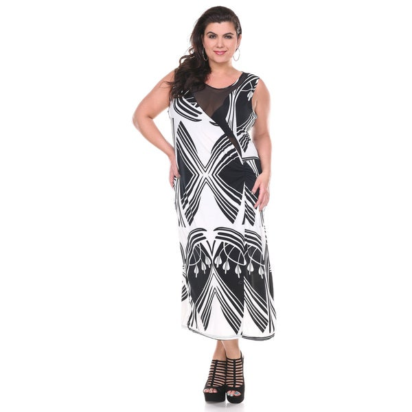 Stanzino Women's Plus Size Mesh Printed Sleeveless Maxi Dress