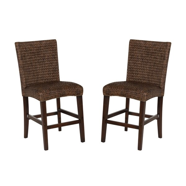 Montgomery Rattan Woven Counter Height Stools Set Of 2