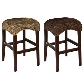 Montgomery Rattan Woven Counter height Backless Stools (Set of 2)