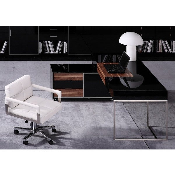 Modrest Ezra Black Gloss and Walnut Office Desk with Side Cabinet