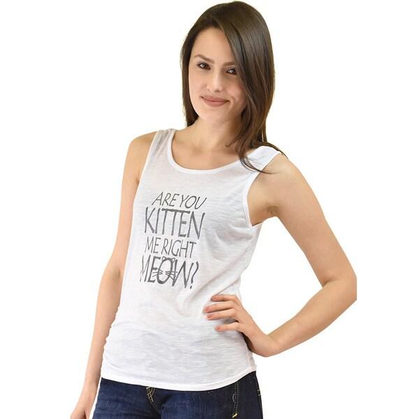 Le Nom Women's 'Kitten Me Right Meow' Side-tie Tank Top