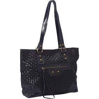 Genuine Italian Leather Woven Dark Navy Tote