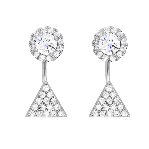 Sterling Essentials Rhodium Plated Silver Triangle Front-Back CZ Earrings