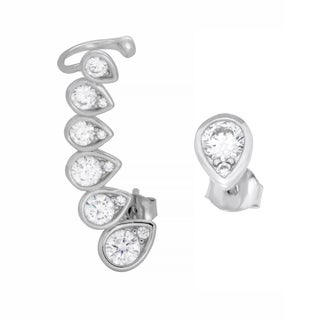 Sterling Essentials Rhodium Plated Silver Teardrop Single Ear Cuff with Stud CZ Earrings