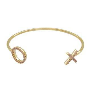 Sterling Essentials 14k Gold Plated Silver Hugs and Kisses Pink CZ Bracelet