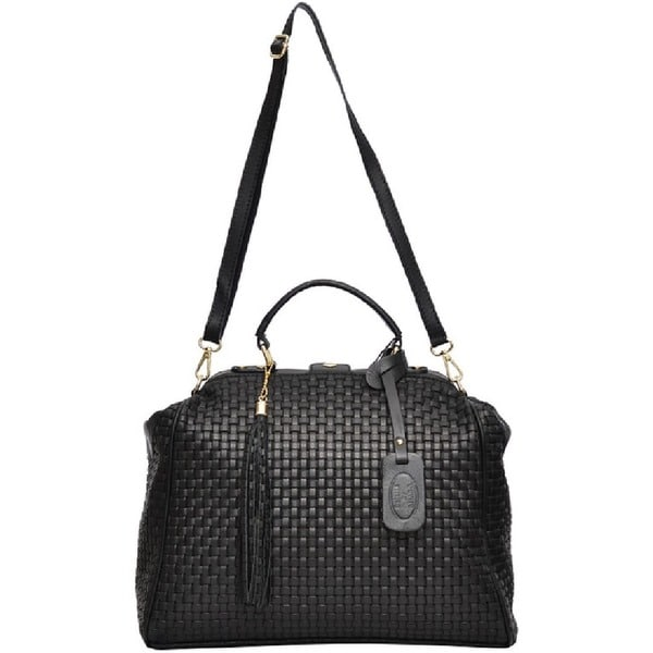SHARO Black Large Italian Leather Woven Satchel