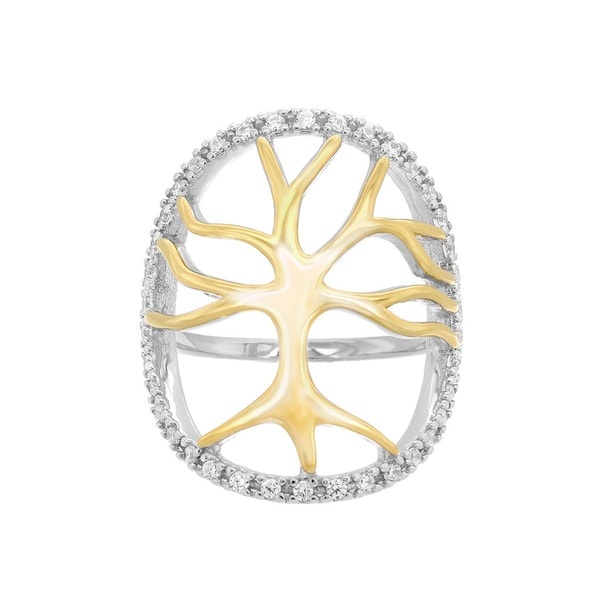 Sterling Essentials 14k Two-toned Gold Plated Silver Enclosed Tree Roots CZ Ring