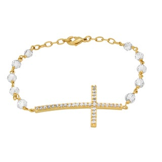 Sterling Essentials Gold Plated Bronze Sideways Cross Rosary Bracelet Made with Swarovski Elements