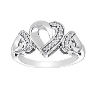 Sterling Silver 1/10ct TDW Diamond Triple Heart Ring (I-J, SI1-SI2)(Size 7)