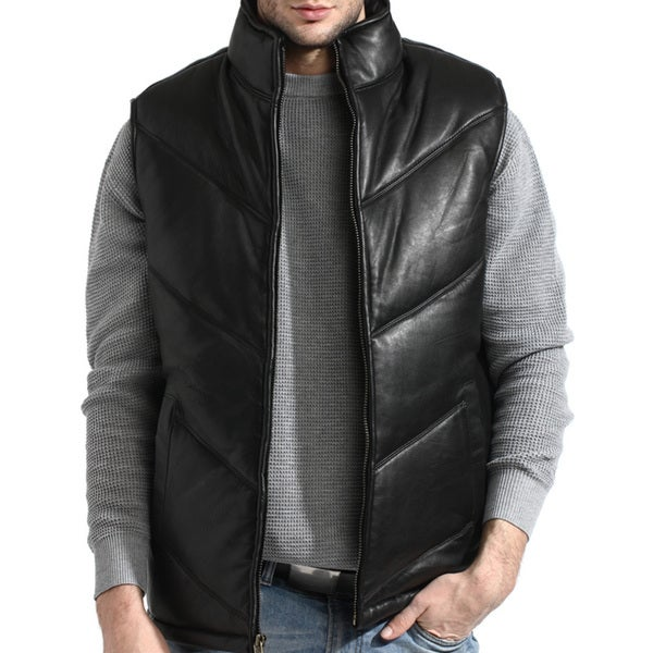 Men's Black Chevron-padded Lambskin Leather Vest