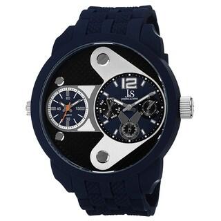 Joshua & Sons Men's Swiss Quartz Dual-Time Multifunction Embossed Design Strap Watch