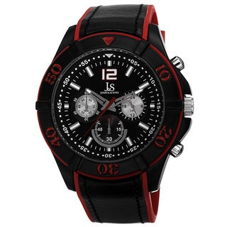 Joshua & Sons Men's Quartz Multifunction Double Layer Red Strap Watch
