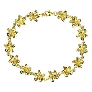 22K Gold Plated Hawaiian Plumeria .925 Silver Bracelets (Thailand)