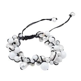 Pure Romance Pearl and Quartz Medley Cotton Rope Bracelet (Thailand)