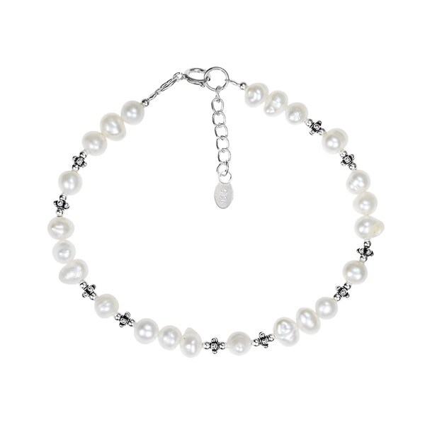 Mystic Links Freshwater White Pearl .925 Silver Bracelet (Thailand)