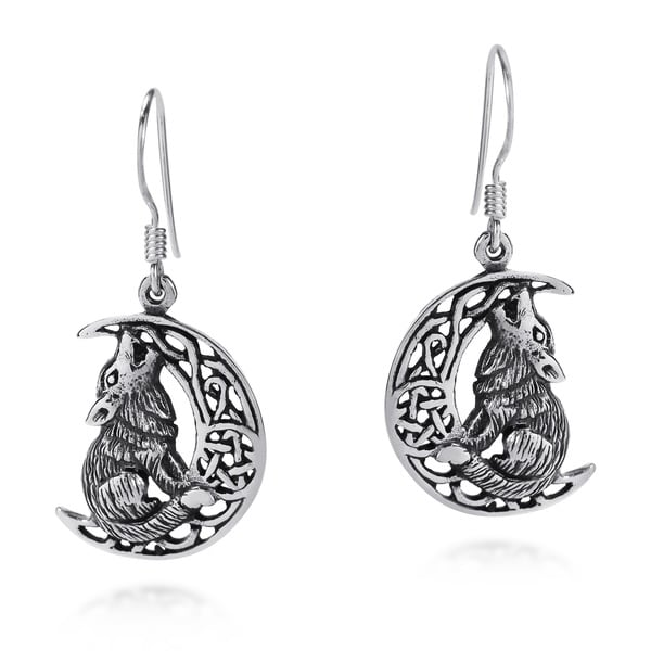 Howling Wolf Celtic Knot Crescent Moon .925 Silver Earrings (Thailand)