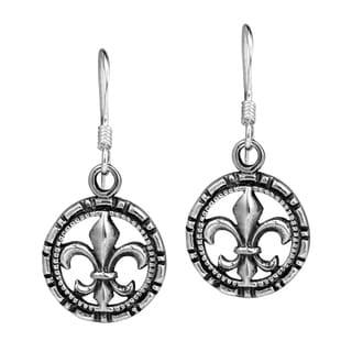 Fleur de Lis in Detailed Circle .925 Silver Earrings (Thailand)